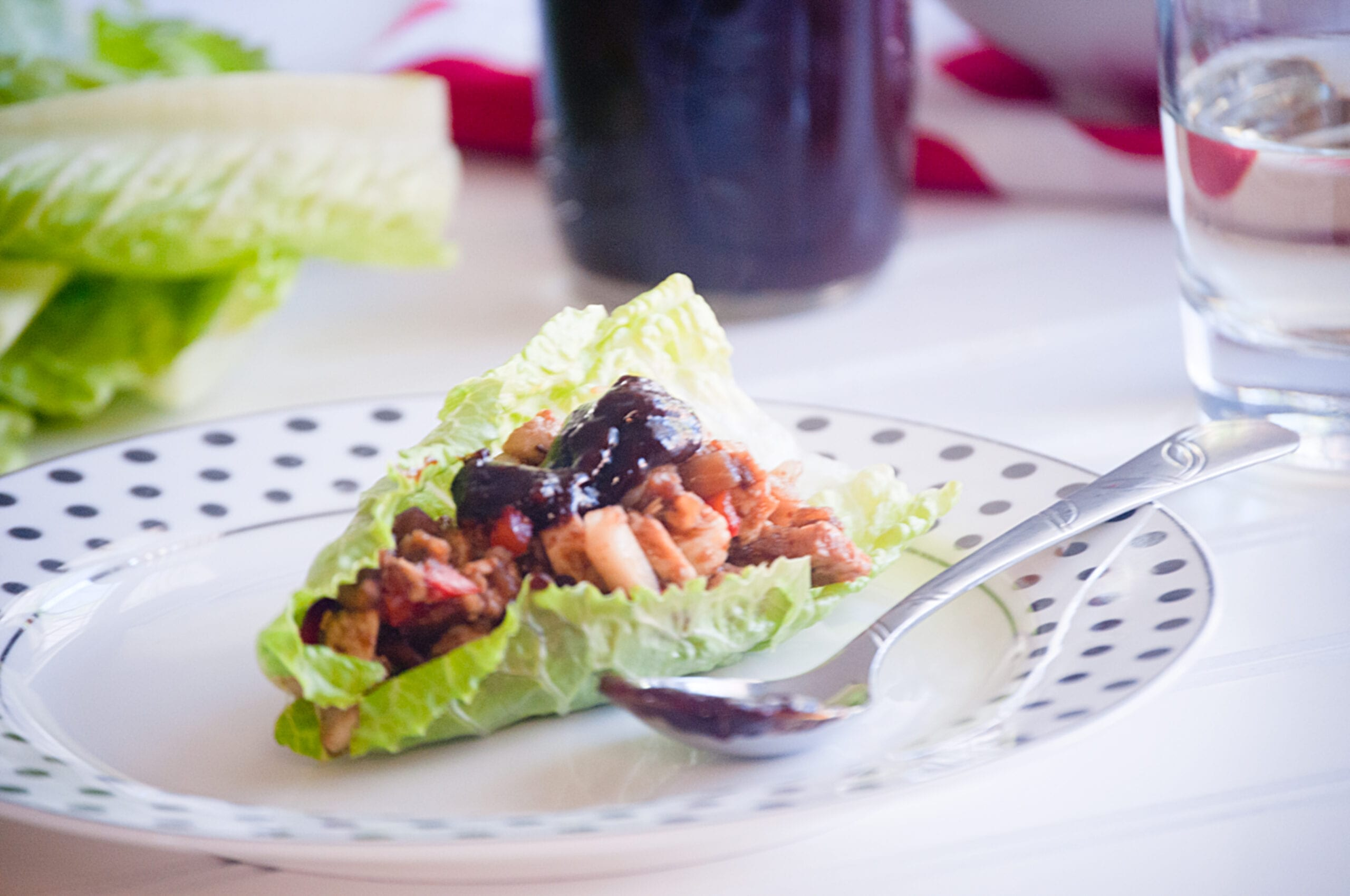 Chicken Lettuce Wraps with Homemade Prune Sauce
