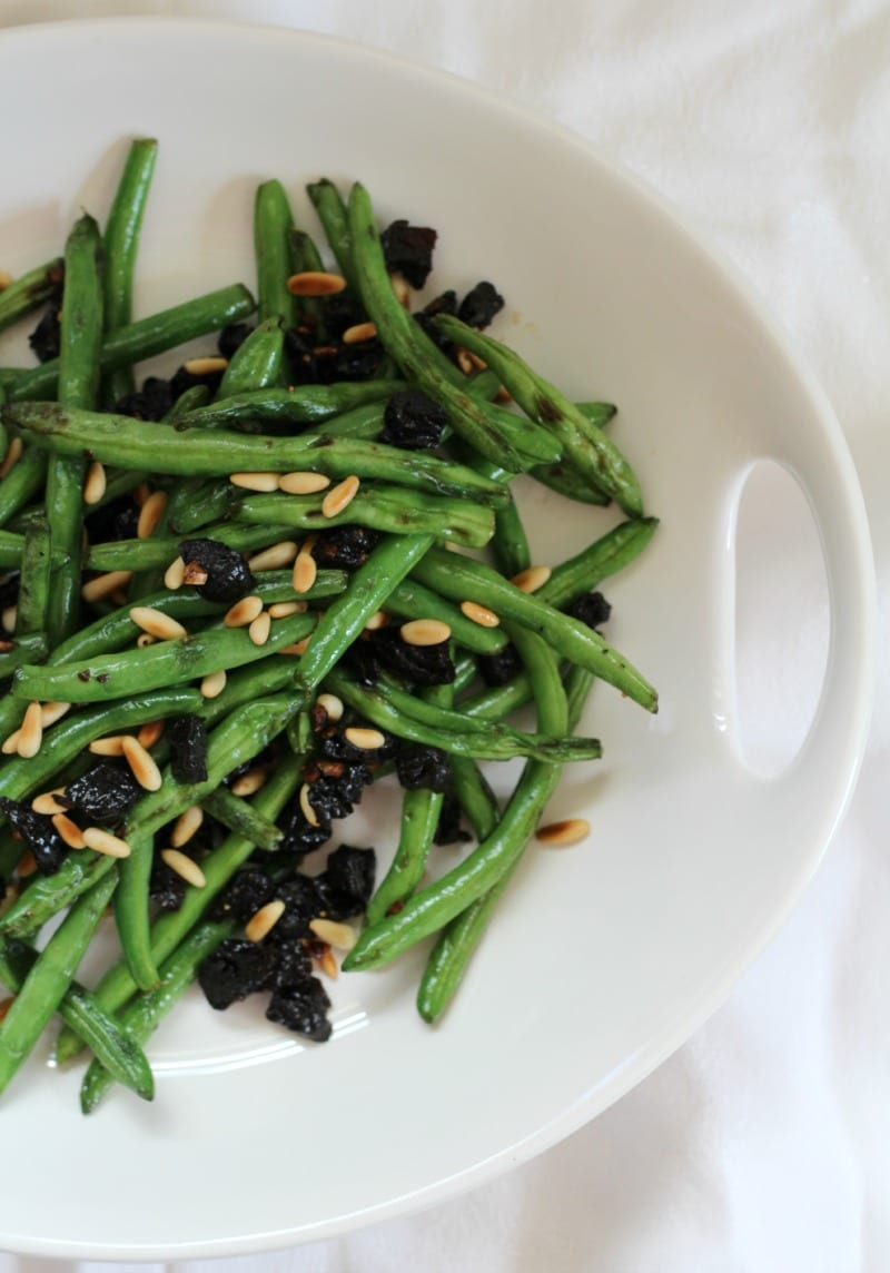 Sautéed Verde Beans with Pine Nuts & Prunes