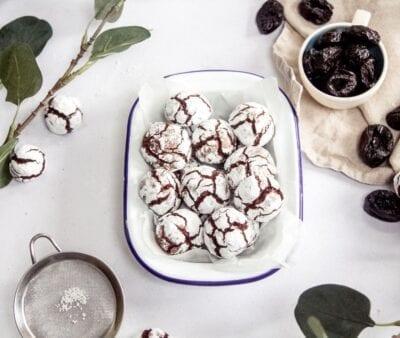 Crinkle Cookies al Cioccolato e Prugne della California