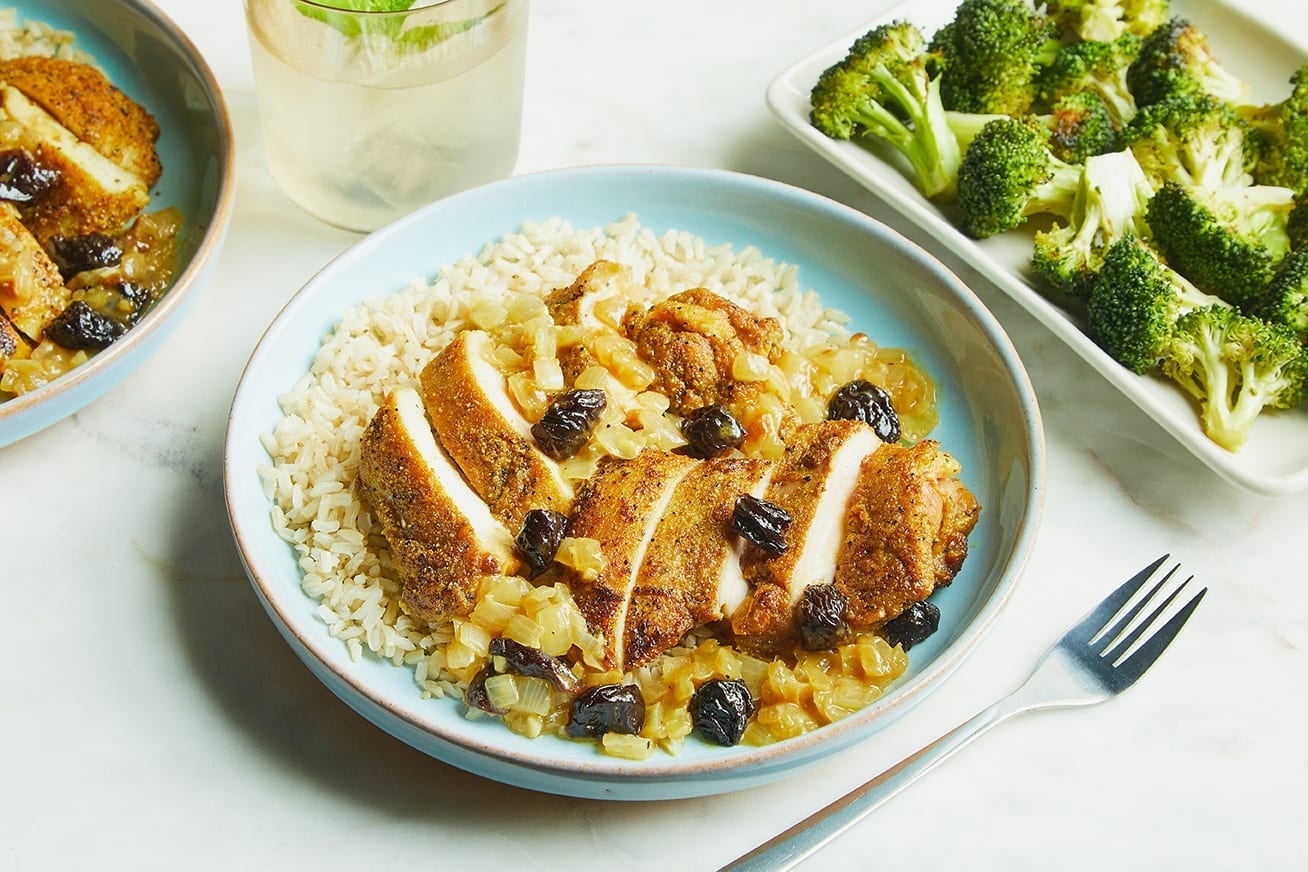Pollo al Curry con Riso Integrale e Prugne della California