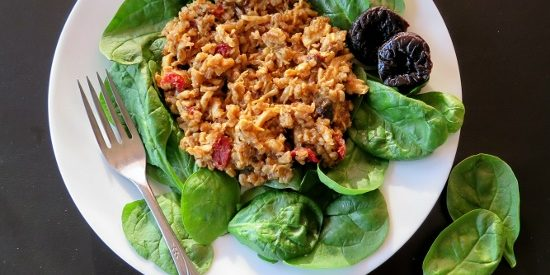 Chicken Wheatberry Salad with Prune Dressing