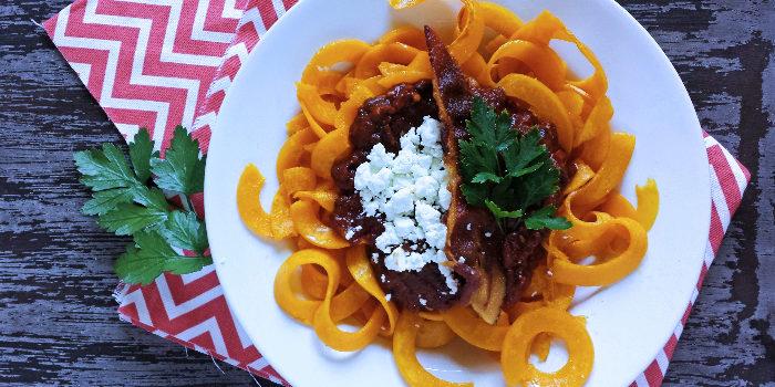 Spicy California Prune Marinara with Butternut Squash Noodles