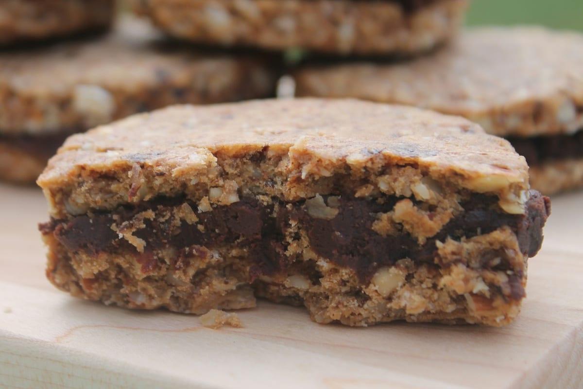 Prune Sandwich Cookies with Chocolate Ganache Filling