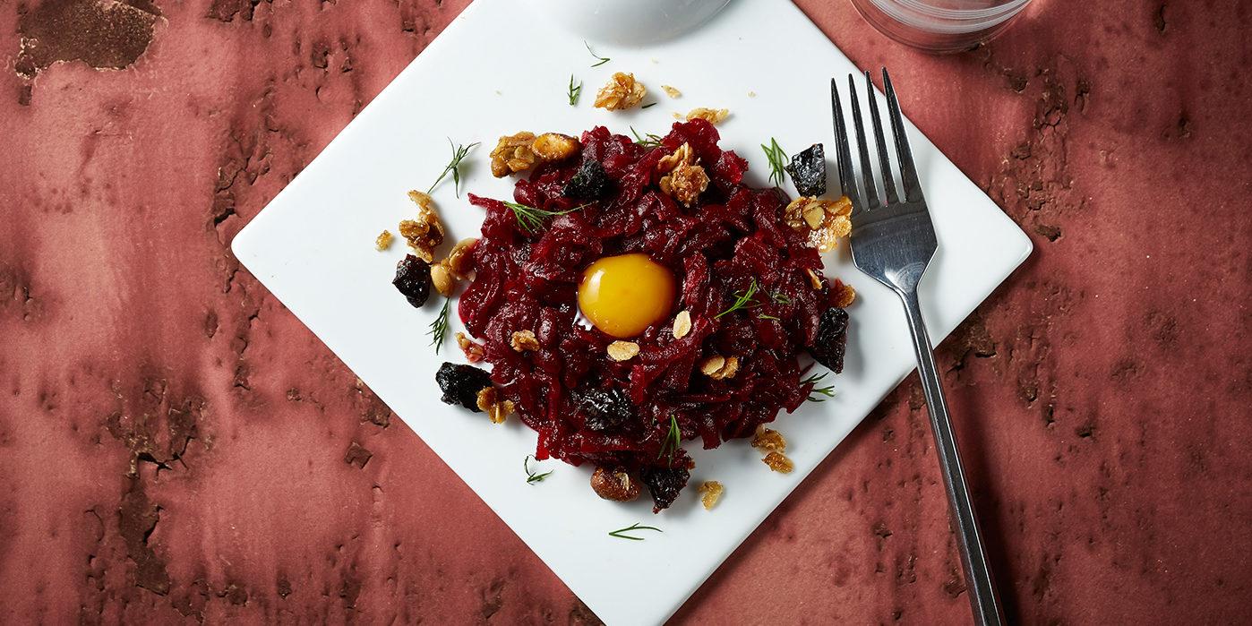 Beet Tartare with Smoked Prune Granola