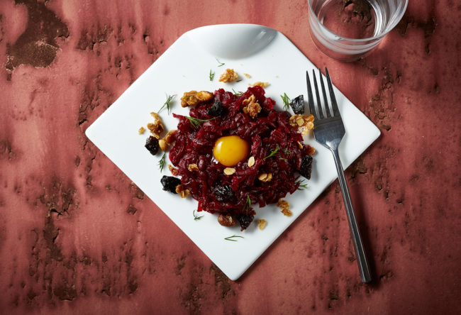 Beet Tartare with Smoked Prune Granola