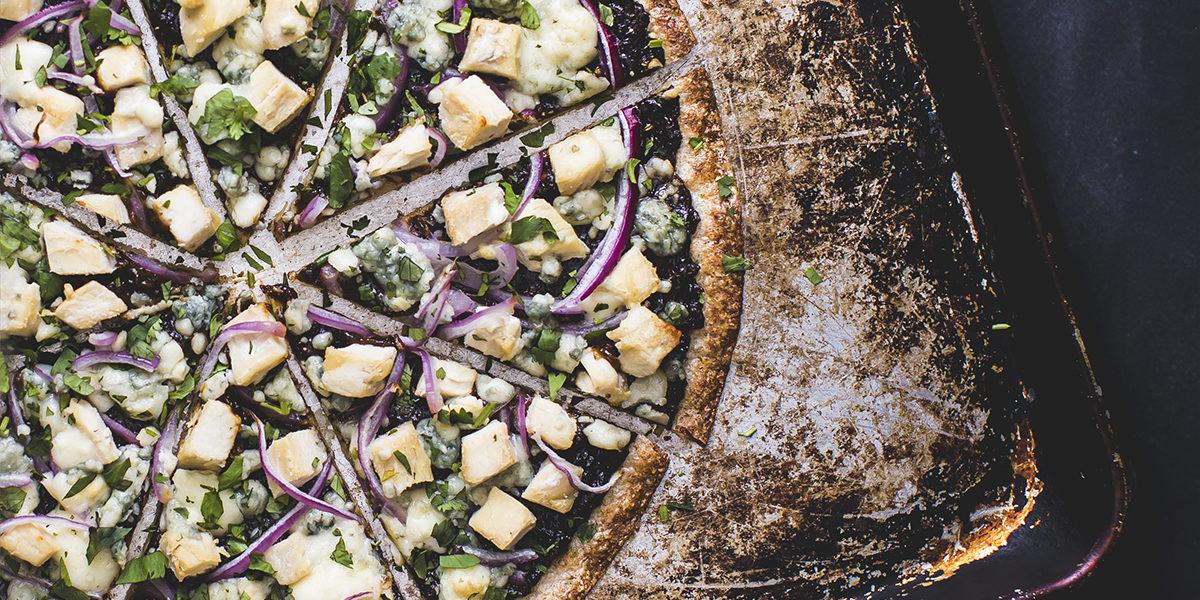 Chicken & Prune Pizza with a Cauliflower Crust