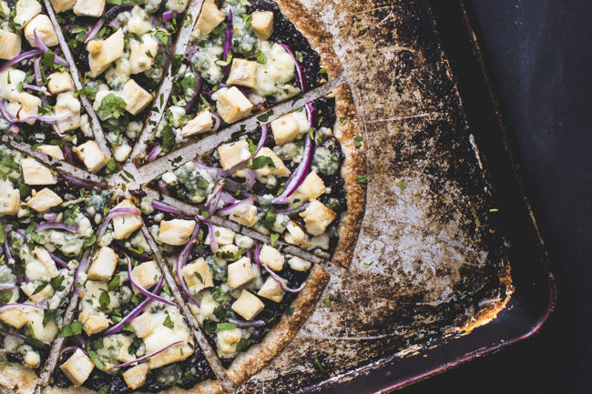 Chicken & Prune Pizza with a Cauliflower Crust