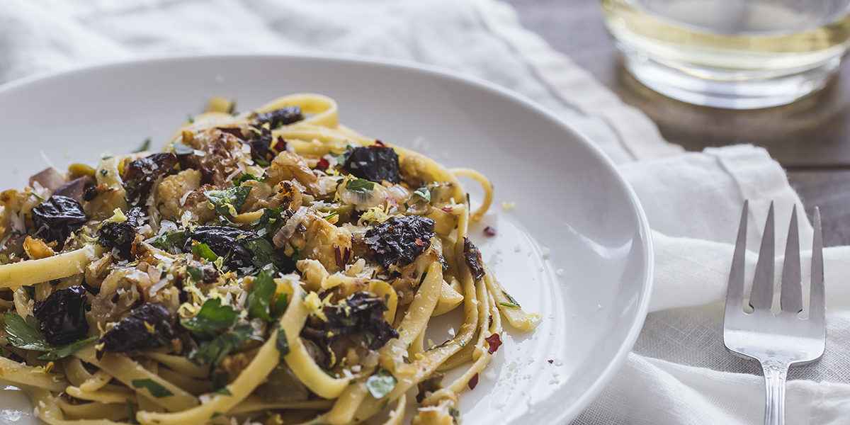 Caramelised Cauliflower Fettuccine Pasta with California Prunes