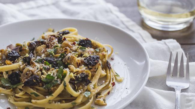 Caramelised Cauliflower Fettuccine Pasta with California Prunes