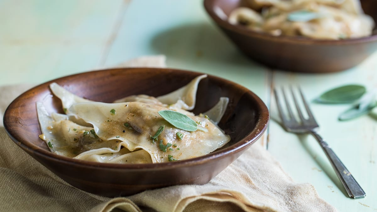 Prune Ravioli with Sage Butter