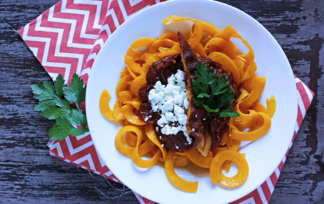 Spicy California Prune Marinara with Butternut Squash Noodles