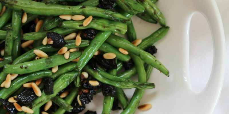 Sautéed Green Beans with Pine Nuts & Prunes