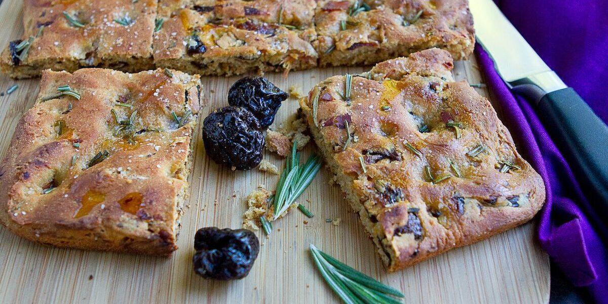 Focaccia Bread with Prunes & Prosciutto